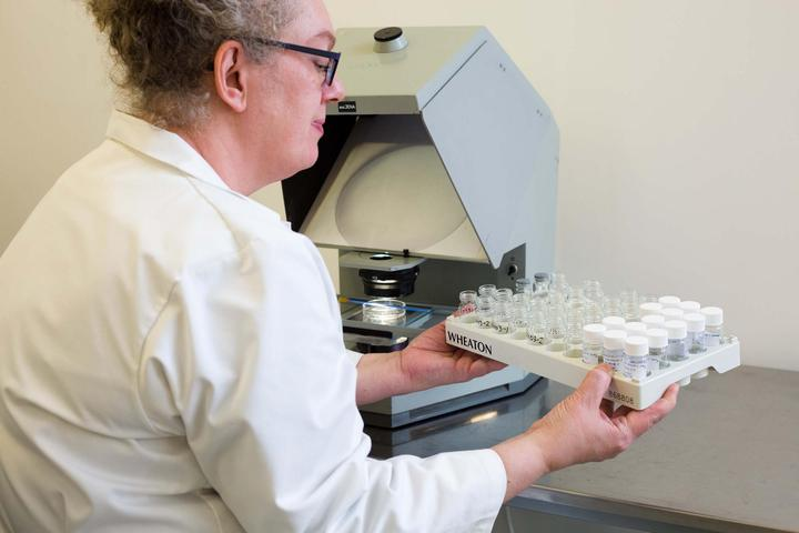 Technician visually inspecting hydrogel material samples for polymer engineering, research and development project